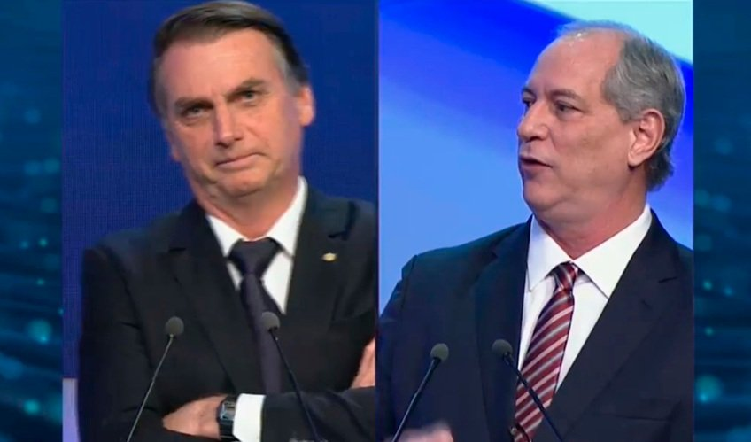 Foto do Ciro Gomes e Bolsonaro no debate da Band
