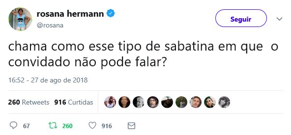 Print do tweet da Rosana Hermann