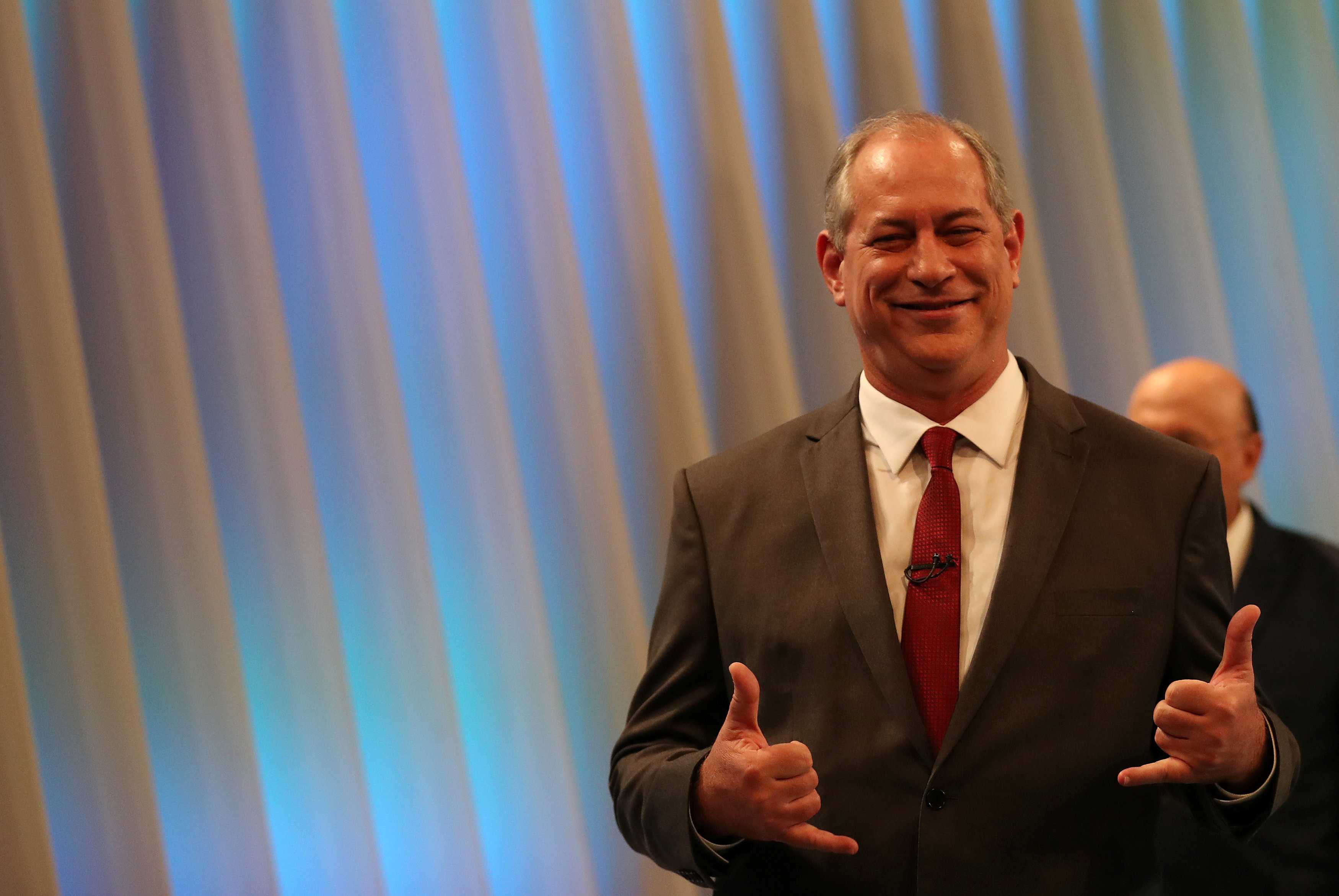 Presidential candidate Ciro Gomes is pictured ahead of a televised debate in Rio de Janeiro hang loose